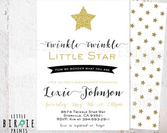 TWINKLE TWINKLE little STAR Baby Shower Invitation- Star Gold and Black Baby Shower Invitation - Gender Neutral Gender Reveal Invitation