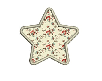 Star with Rounded Points Applique - Machine Embroidery Design. 6 sizes. Instant download