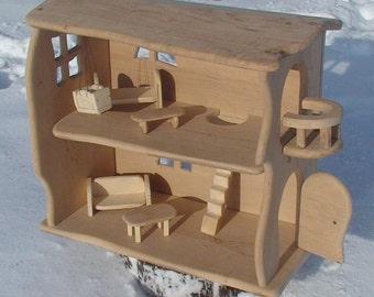 Wood doll house, Handmade wooden dollhouse, Natural Wooden Dollhouse Waldorf,  Wood fairy house, Doll house, Gnome house, Natural wooden toy