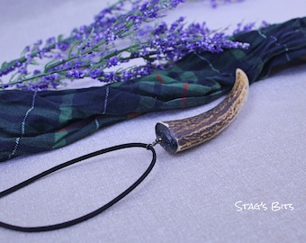 Naturally Cast Antler Pendant Necklace in white gift box.