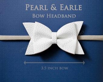 Soft Baby Headband, Baby Girl Headband, Baby Headband, Bow Headband Baby, Baby Girl Bow Headband, Nylon Headband, White Baby Headband,