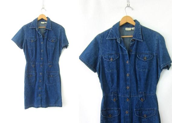 90s Jean Dress Safari Button Down Dress Short Sleeve Minimal Denim Dress Preppy Summer Mini Dress Womens Medium