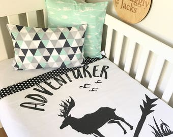 Baby Cot / Crib Quilt Blanket Black Deer Adventurer Baby Boy