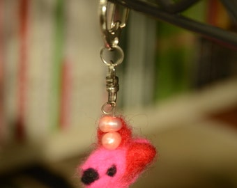A Birdie Needle Felted and Pearled Keychain