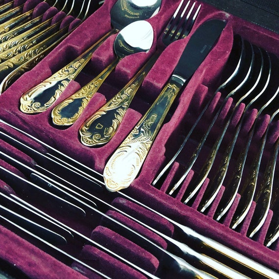 Vintage/flatware set/solingen Germany/stainless steel and gold plated/hollywood regency/tablescape/Chinoiseries