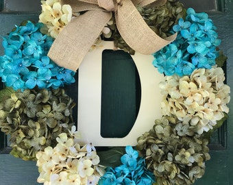 Hydrangea wreath with Monogram, Everyday floral wreath