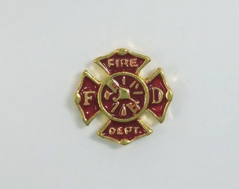 1 PC - Fire Department Fireman Enamel Gold Charm for Floating Locket Jewelry F0120