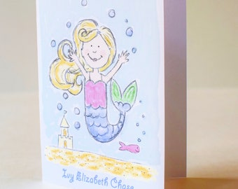 Personalized Mermaid Notecards