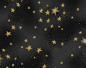 Metallic Gold Star Fabric, Clothworks Enchantment Y1965-3M, Holiday, Christmas, Gray & Black Star Quilt Fabric, Night Sky, Cotton, FQ