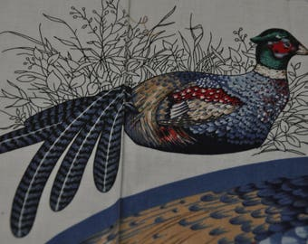 """Pheasant Fabric Panel - Approx. Body 12"""" High & 18"""" Long - with tail feathers 36""""long"""
