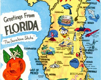Florida State Map Sunshine State Vintage  Postcard (unused)