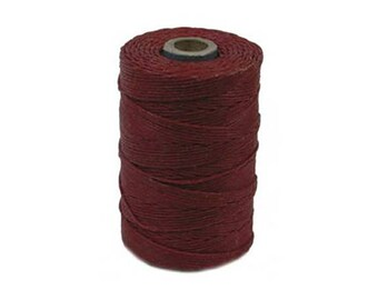 Irish Waxed Linen Thread Country Red 43664 (50gr, 100yds), Crawford Irish Waxed Linen Cording, 4-Ply Waxed Linen, Linen Jewelry Cord