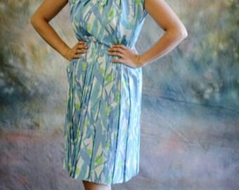 1950's Vintage Dress - Sleeveless Sun Dress - Secretary Dress - Church Dress - Shirtwaist Dress -  32 Inch Waist - Sleeveless Day Dress