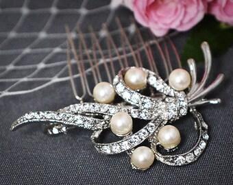 Bridal Hair Comb, SWAROVSKI Crystal and Pearl Wedding Hair Comb, Vintage Inspired Wedding Hair Comb, Bridal Wedding Hair Accessory, FENELLA