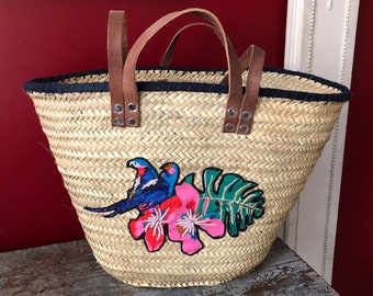 Basket of beach, Wicker shopping basket, straw bag, decorated, limited edition Parrot boho chic