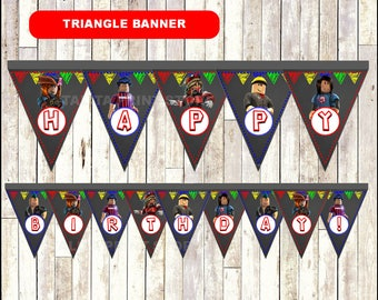 Roblox Chalkboard Triangle Banner, printable Roblox Banner, Chalkboard Roblox triangle Banner - Instant download