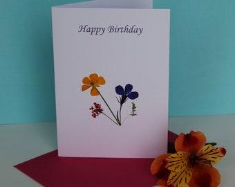 3 Irish Pressed Flower Cards ~ Happy Birthday ~ Best Wishes ~ Blank Greeting Card ~ Connemara wild flowers, a tiny gift from Ireland ~