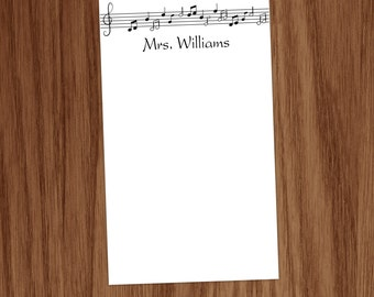 Music Note Notepad Personalized Gifts for Music Chorus Choir Teachers Band Directors Moms Musicians Personal Stationary Stationery Notepads