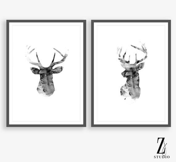 Scandinavian print reindeer head stag print black
