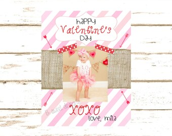 Valentines Day Card - Pink and Burlap Valentine - Valentine Photo Card - 5 x 7 Card