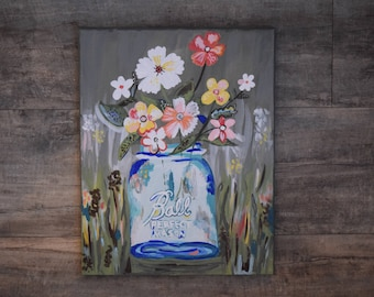 Abstract flowers hand painted by Elise Winter