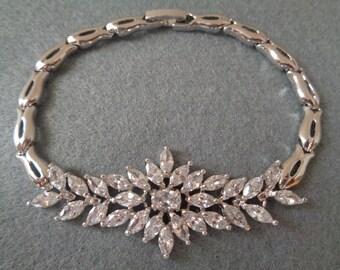 Beautiful sparkling marquise cut cz bridal wedding occasion bracelet silver rhinestone crystals 18cm cubic zirconia