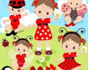 Ladybug clipart, Little Baby Ladybug girls and boys clipart, Baby shower, Birthday clipart, commercial use, AMB-1086