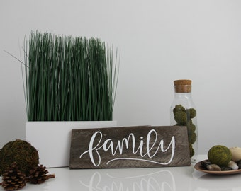 FAMILY hand lettered sign