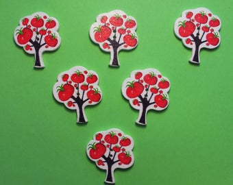 SET of 6 wood buttons: tree with tomatoes 30 * 25 mm