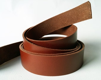 """50"""" Cognac Veg Tanned Leather Strap, Genuine Italian Vegetable Tanned Leather 2 mm Strips Cognag Color, Cow Hide Leather Strips"""