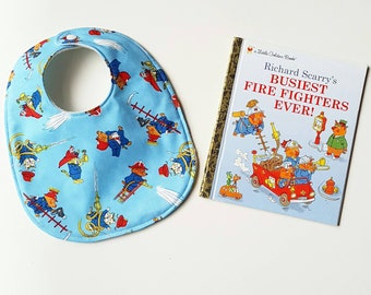 Busytown Blue Richard Scarry Huckle firefighter round baby bib