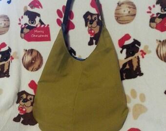 Mustard Yellow and Plaid Hobo Bag- Reversible