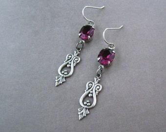 Art Deco Earrings - Plum Purple Crystal - Lightweight