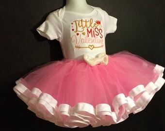 Valentines Day Tutu Outfit - Ribbon Trimmed Tutu Set - Holiday Tutu