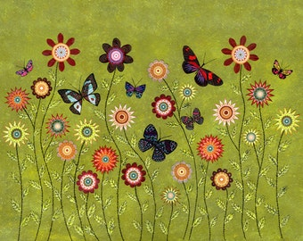 Bohemian Butterflies Collage Painting, Mixed Media Art Print on Wood