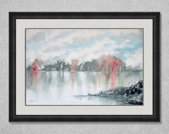 Lake landscape, Original Watercolor Painting by Rosario Simbari, lakescape, OOAK artwork, trees on fire, reflections on the water, art decor