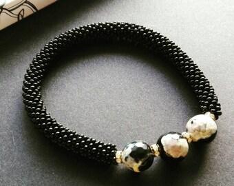 Handmade bracelet, beaded jewelry, handmade jewelry, beaded bracelet, roll on bracelet, agate bracelet, stone bracelet, gift for her