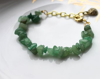 Green Aventurine Stone Bracelet with Gold Chain, Genuine Aventurine Bracelet, Green Stone Bracelet, Stone Bracelets, Gold Chain