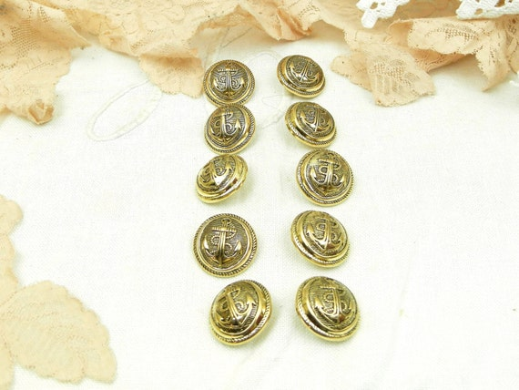 10 Vintage Gold Colored Unused Buttons with Anchor Motif Design, Retro French Sewing Accessory, Haberdashery Craft Supplies, Sailor Theme