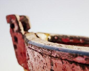Ship Photography - Red Boat Fine Art Print - Hopeful Seaside Art - Dreamy Rowing Boat - 8x12