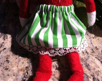 Elf Skirt Green & White Striped Skirt by Christmas Shelf Clothes for Girl Elf 12 INCH or Pixie NEW