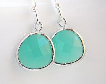 Green Earrings, Mint Earrings, Aqua Earrings, Glass Earrings, Silver, Wedding, Bridesmaid Earrings, Bridal Earrings Jewelry, Bridesmaid Gift