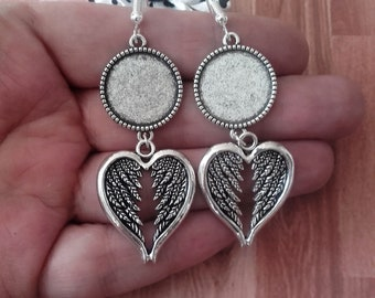 x supports silver 18 mm, angel wing heart cabochon earrings