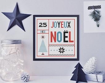 Cross Stitch Pattern, Modern Cross Stitch Pattern, Christmas Cross Stitch,  Joyeux Noel Cross Stitch - PDF