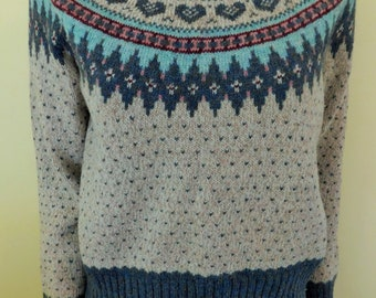 Vintage, 1980's, Woolrich, Wool Blend, Fair Isle, Crewneck,  Sweater, Women's Size S/M
