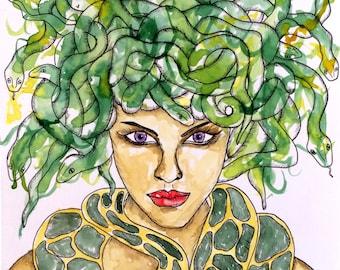 Pagan Art Medusa Greek Goddess Fantasy Art Pagan Altar Art Mythological Goddess Print Spiritual Art Divine Feminine Goddess Print