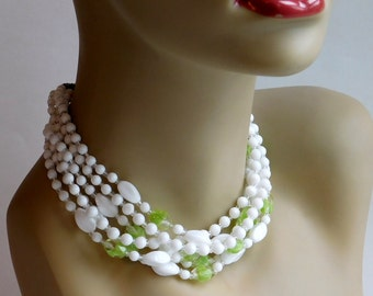 Vintage Green and White Art Glass Multi-Strand Beaded Necklace from West Germany - Acid Green Case Glass Beads - 6-Strand Mid-Century 1950s