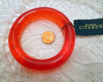 Vintage Givenchy Bracelet, Orange Red Lucite Bangle Bracelet Vintage jewellery couture designer jewelry Original Tag
