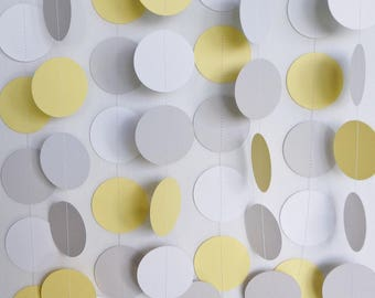 Yellow, Gray & White Circle Paper Garland, Wedding Decor, Birthday Party Decor, Baby Shower Decorations, Pastel Yellow, 10 feet long