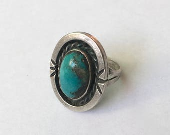 vintage sterling and turquoise ring, size 6